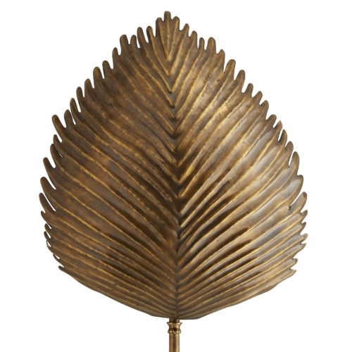 Pressed into the shape of a wild exotic leaf, this sconce is truly unique in all of its handcrafted features. Organic textures are made by pressing the plate of brass into shape, then the use of special tools and immense skill are needed to get the ridges and lines just right