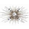 A work of art, this sunburst lighting fixture finished finished in polished nickel has five lights and can be hung horizontally or vertically. This piece can also be mounted to the ceiling
