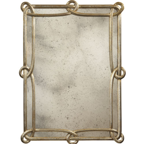 Rectangular carved wood mirror with antiqued silverleaf finish and antiqued mirror, available at www.InvitingHome.com