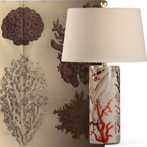 Table lamp with marine coral etching design. The fascinating design of this table lamp is inspired by antique coral etching from George Washington's library; available at InvitingHome.com