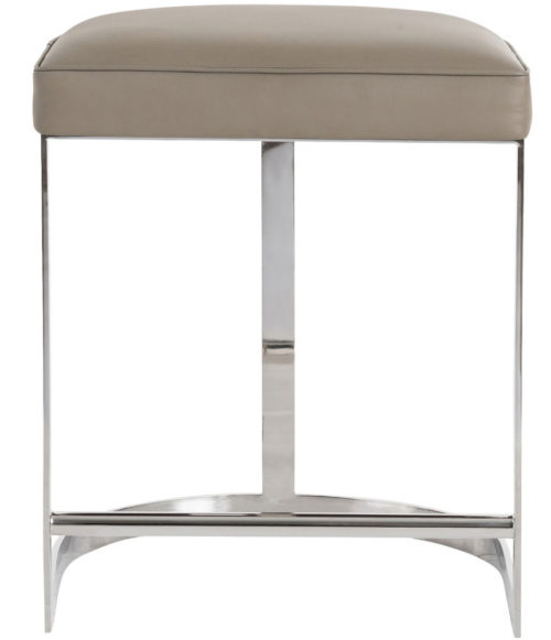 Warm Dove Gray Leather Bar Stool