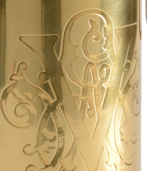 Brass Wine Chilling Bucket With Hand Etched Design