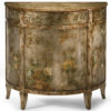 Antiqued Hand-Painted Cabinet With Floral And Bird Design On An Antique Silver Background