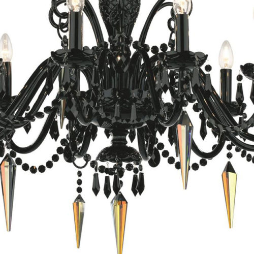 Black Cut Crystal Chandelier