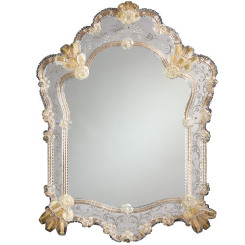 Venetian Glass Mirror Framed In Hand Etched Glass With Gold Highlights