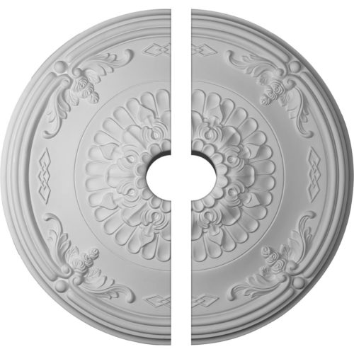 two piece Hanover Ceiling Medallion. Hanover decorative medallion for ceiling comes factory primed and is suitable for painting, glazing or faux finish. This ceiling medallion giving you look and feel of plaster while it is much easier to install than plaster or gypsum due to the weight, dimensional stability, precise tolerances and flexibility.
