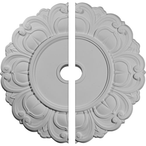 two piece Seidel Ceiling Medallion. Seidel ceiling medallion molded in deep relief with beaded details.