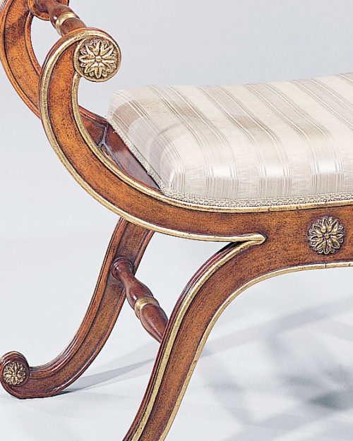 Baroque Style Carved Beech Wood Bench With Gold Leaf Accents