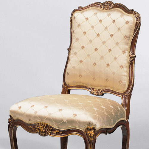 Louis Xv Carved Wood Upholstered Armchair