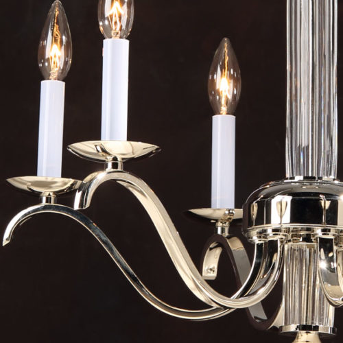 Crystal Chandelier With Brass And Polished Nickel Finish