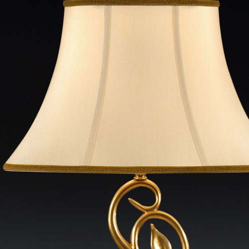 Brass Table Lamp With Ivory Silk Shade