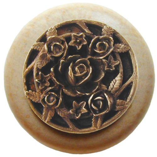 Saratoga-Rose Natural Wood Knobs