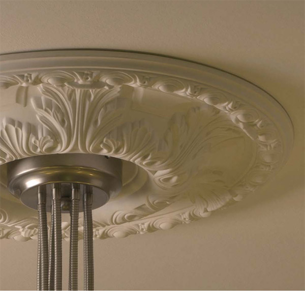 San-Antonio ceiling medallion has traditional design with acanthus leaf and egg-and-dart trim