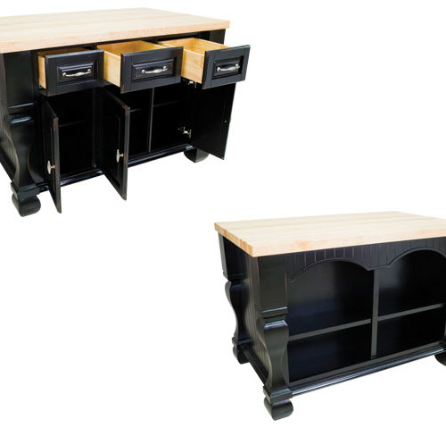 Kitchen Island In Distressed Black Finish