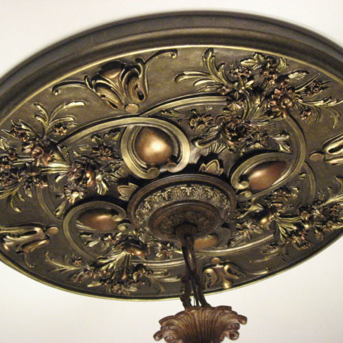 Fabulous Arvada ceiling medallion intricately designed with flower bouquets and graceful scrolls.