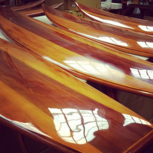 Only a few craftsmen now have the skills needed to build a classic wooden surfboard. Long enough to ride the waves off Waikiki or Malibu. This wooden surfboard is just short enough to casually lean into a corner of your living room, study, or den