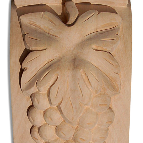 Santa Monica wood brackets are carved in a deep relief with grape cluster motif on the front and grape leaf scroll on the sides