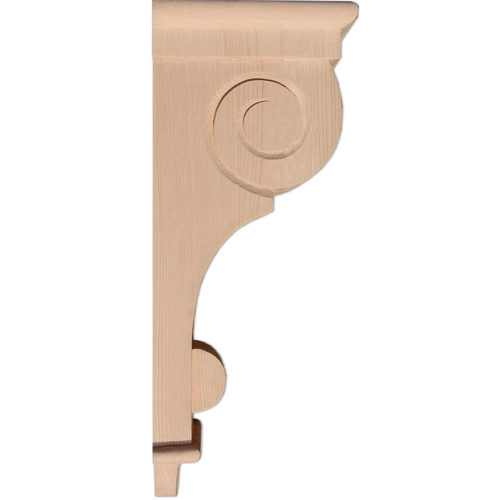 Craftsman wood corbels design features recessed paneled front and decorative craftsman scroll on the side