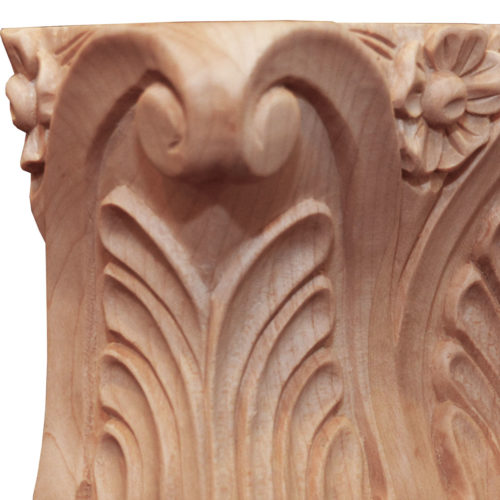 Tennessee hand carved wood capitals are carved in a deep relief with rising acanthus leaf, scrolling and flower center