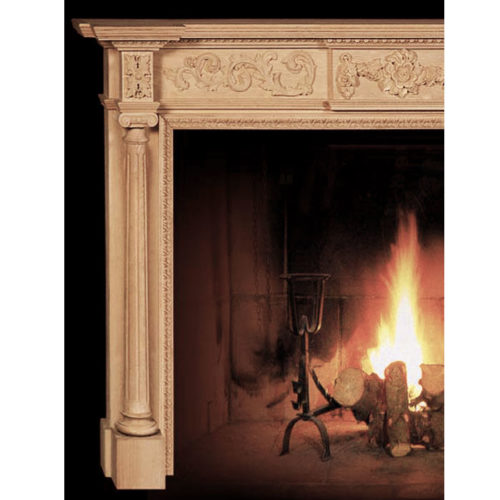 Sophisticated design of these beautiful hand-crafted wooden fireplace mantels features masterfully carved in a deep relief details