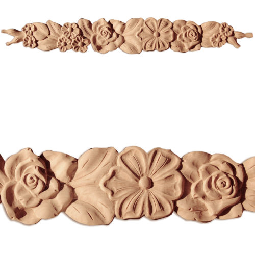 Madison horizontal onlays are hand-carved from premium selected hard maple, cherry and white oak. Onlays carved in deep relief with beautiful flowers and leaf design