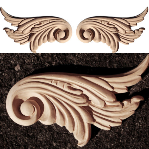 Albany scroll wood carvings. Wood onlays feature carved in deep relief scrolled leaf design