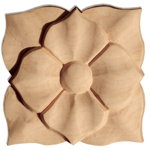 Marietta square wood rosettes are carved in a deep relief with flower and leaf motif. Marietta rosettes are hand carved by skilled craftsman from premium selected hardwood
