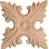 Sarasota square wood rosettes are carved in a deep relief with leaf motif