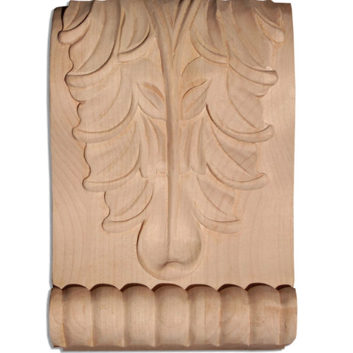 Memphis wood corbels are carved in a deep relief with acanthus leaf motif. On the sides corbels have a graceful curves and classic leaf scrolls design