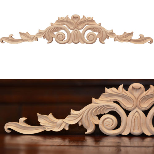 Santa Cristina center wood carvings are hand crafted from premium selected hardwoods. Wood carvings feature carved in deep relief leaf motif with scrolled leaf design
