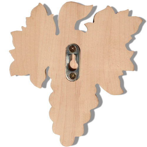 Tulare wood carvings crafted from premium selected North American hard maple, red oak and cherry. Wood carvings feature carved in deep relief grape clusters