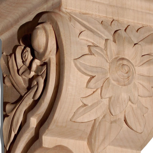 Tennessee corbels designed with classic foliate scroll on the sides. Front of the corbels has carved in a deep relief floral motif