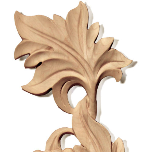 Wood carving features carved in deep relief elegant grape vines with grape clusters