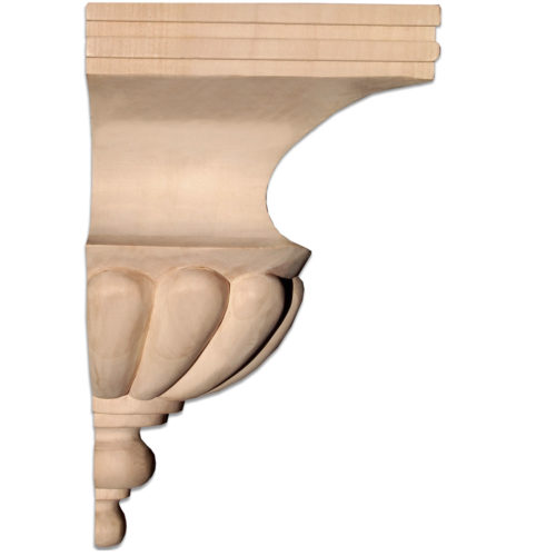 Lombard wood corbels hand-carved with Basket Weave design and beaded trim