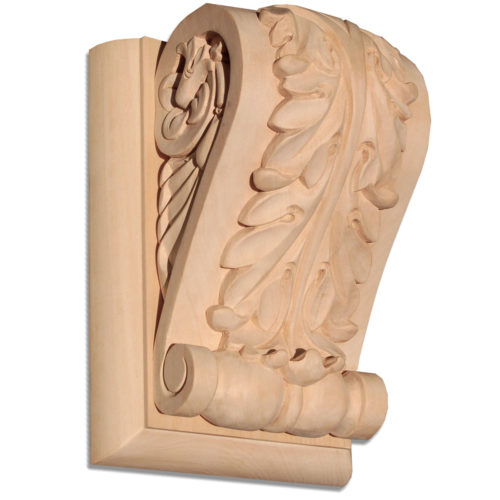 Madison wood bracket has a beautiful traditional carved in a deep relief acanthus leaf motif. On the sides bracket has a graceful curves and classic leaf scrolls design