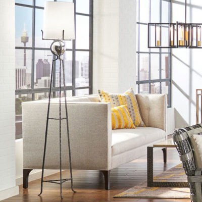 iron and bronze floor lamps