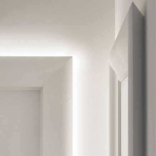 Suncoast molding shown installed as a door trim with and without LED lighting; modern door trim and lighting ideas