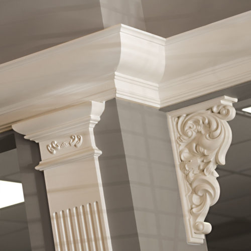 Contemporary interior with classic crown molding, door trim and pillasters