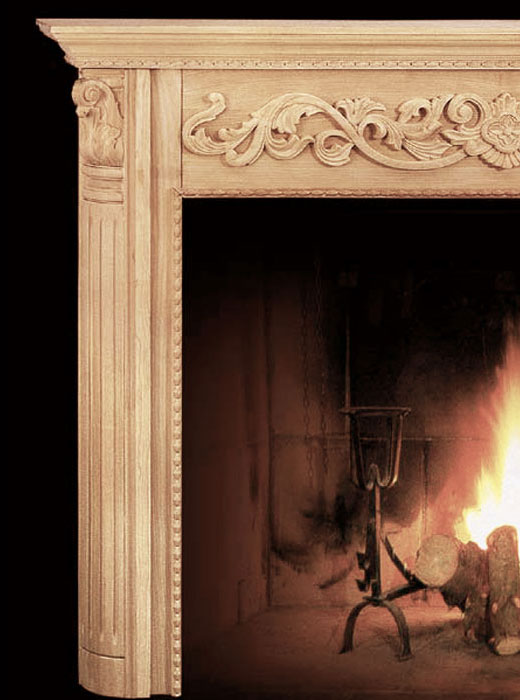 hand-carved wood fireplace mantel