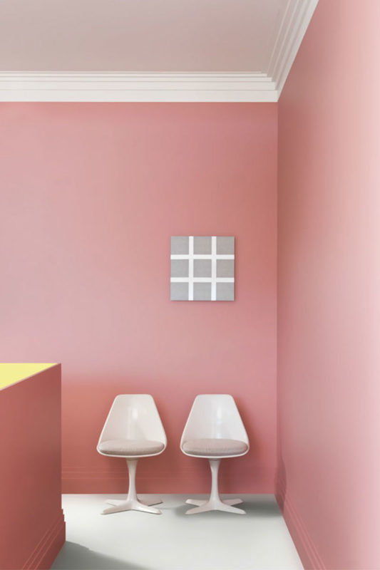 modern pink interior with modern style crown molding and baseboard