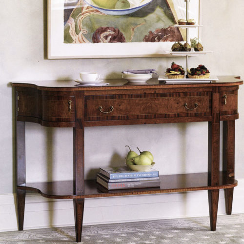19th-century English style console table with oak burl and walnut veneer. English console table has one drawer and antiqued brass hardware. This console table is hand made in Italy