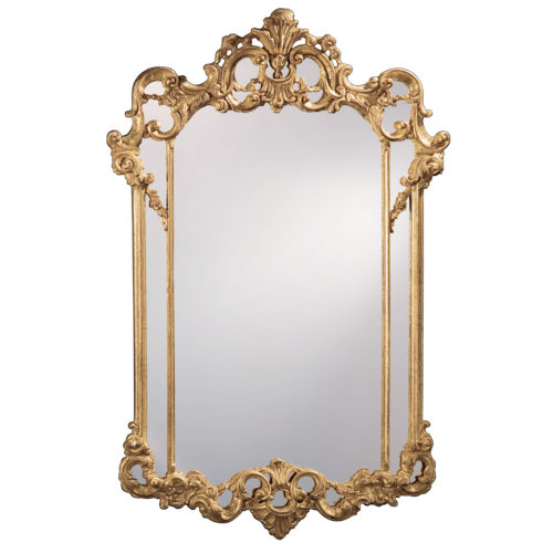 Neoclassic style carved wood decorative mirror with leaf scrolls design. Mirror finished in antiqued gold leaf. This mirror is hand-crafted in Italy