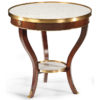 Round wood table with white Carrera marble top and shelf. Occasional table has medium walnut finish and antiqued brass trim