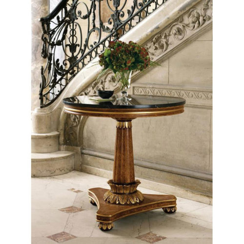 Home entry decor featuring Biedermeier style table with black Marquina marble top; available at InvitingHome.com