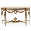 Louis XVI style carved wood console table with floral garland motif. Louis XVI console table has antiqued gold-leaf finish and Estremoz marble top with curved beveled edge. This console table is hand made in Italy