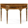 Adam style demilune console table with mahogany and satinwood veneer. Demilune console inlaid with pear and maple. Adam style console table has carved wood legs and antiqued gold-leaf details. This console table is hand made in Italy