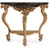 Louis XIV style carved wood console table with black Marquina marble top. Louis XIV console table has black Marquina marble top with carved, beveled edges. This console table is hand made in Italy