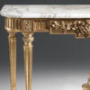 Louis XVI style carved wood console table. Louis XVI style console has carved floral motif, antique gold leaf finish and Calacatta gold marble top with carved beveled edge. This console table is hand made in Italy