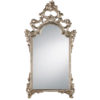 This elegant carved wood mirror is hand crafted in 18th century Italian style. Decorative wall mirror has floral design with graceful leaf scrolls and finished in antique silver leaf. This mirror is hand-crafted in Italy