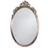 Oval Neoclassic style carved wood wall mirror with ribbon motif. This wall mirror has antique silver leaf finish and beveled glass. hand-crafted in Italy.